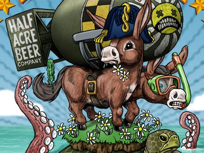 Double Daisy Cutter, 2012 Edition illustration photoshop ink drawing beer label donkey turtle tentacles