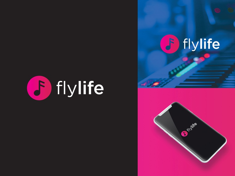 Fly Life Music App logo design music logo