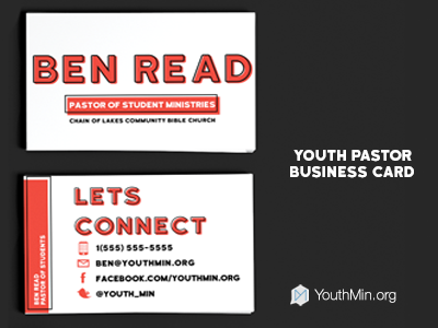 youth pastor business card by ben read dribbble - Pastor Business Cards