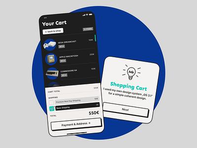Shopping Cart designsystem daily ui commodore dreamcast uidesign blue appdesign retro windows 95 shopping cart cart dailyui058 dailyui ux design
