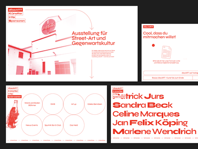 Discart Exhibition Website simple marquee monochrom minimal typography syne variable font modern clean kirby bremen onepager exhibition cola design ux ui red webdesign website