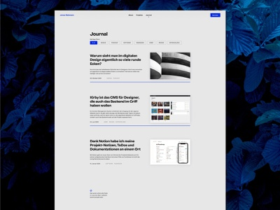 Journal Webdesign 2020 frontend clear layout minimalism grey blue portfolio kirby webdesign blog design tags journal magazine blog design