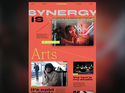 MOREYOU magazine concept header hero typography magazine design article interface interaction website art fashion frontend neon green neon concept layout magazine design webdesign
