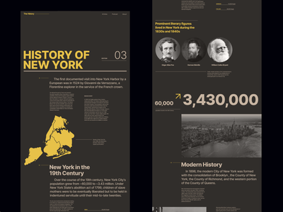 History of New York Layout magazine design magazine website newyork experimental web landing page yellow colors ui grid webdesign minimal typography concept flat layout