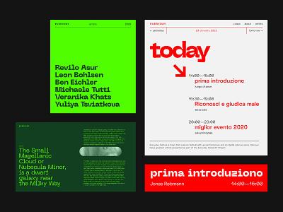 Neue Machina & Space Grotesk brutalist design brutalism festival poster events article page magazine concept experimental space green grey modern festival branding minimalism typography layout webdesign design