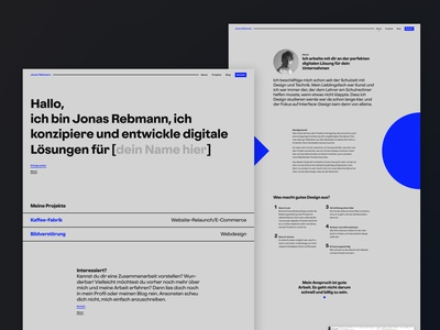 JonasRebmann.de   Portfolio Landing Page ux uiux ui mysite about kirby webdesigner webdesign freelancer portfolio site landing page