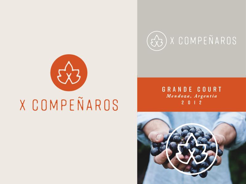 X Companeros handrawn x letter label logo wine
