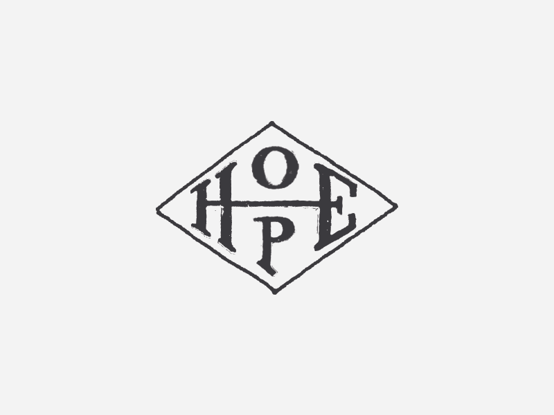 Hope logotype lettering drawn hand type diamond hope
