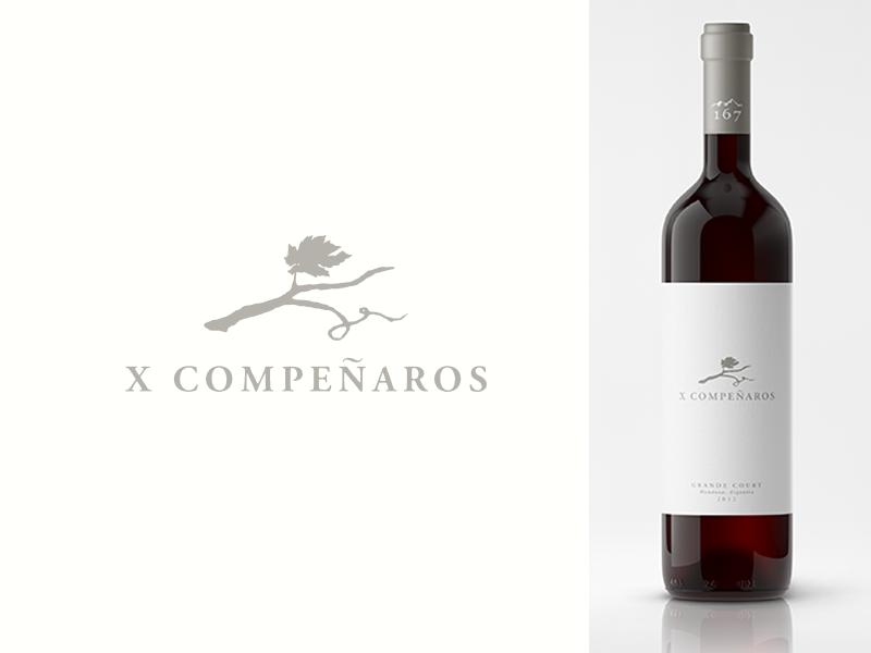 X Companeros vine grapes leaf branch wine
