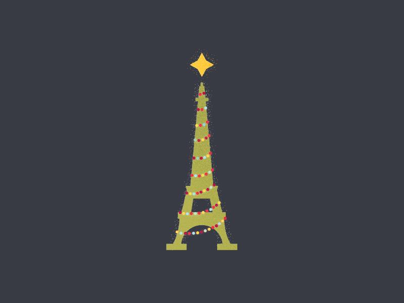 Eiffel Christmas balls star lights paris tree chirstmas tower eiffel