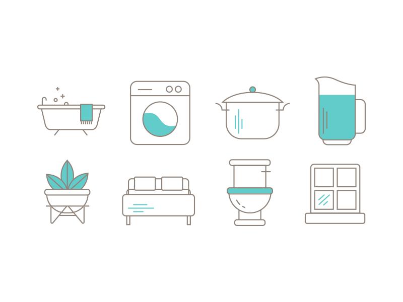 House icons kitchen pot plant bed washing bath toilet icon icons