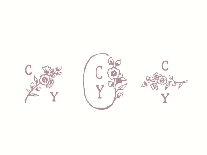 Flower logo options logo photographer whimsical drawn hand wild flowers