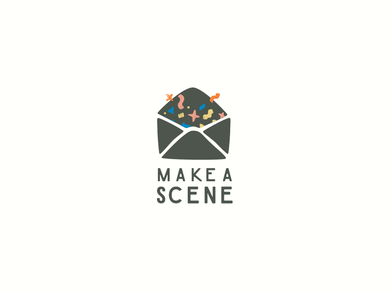 Make a Scene stationery whimsical playful envelope logo confetti