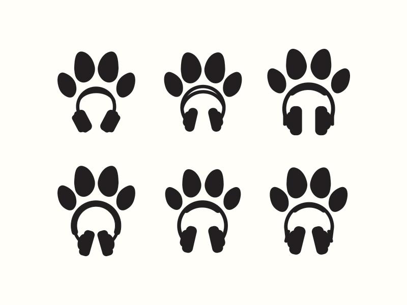 headphone paw prints options logo music dog prints paw headphone