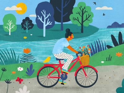 A little ride ❤️ lanscape balade paysage vélo bike plant illustration female character kids illustration illustration art illustrator illustration