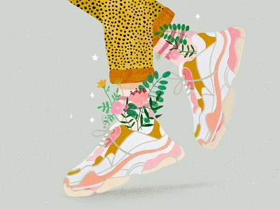 Spring sneakers 🌷 flower shoes adobe fresco run running sneakers sneaker illustration art illustrator illustration