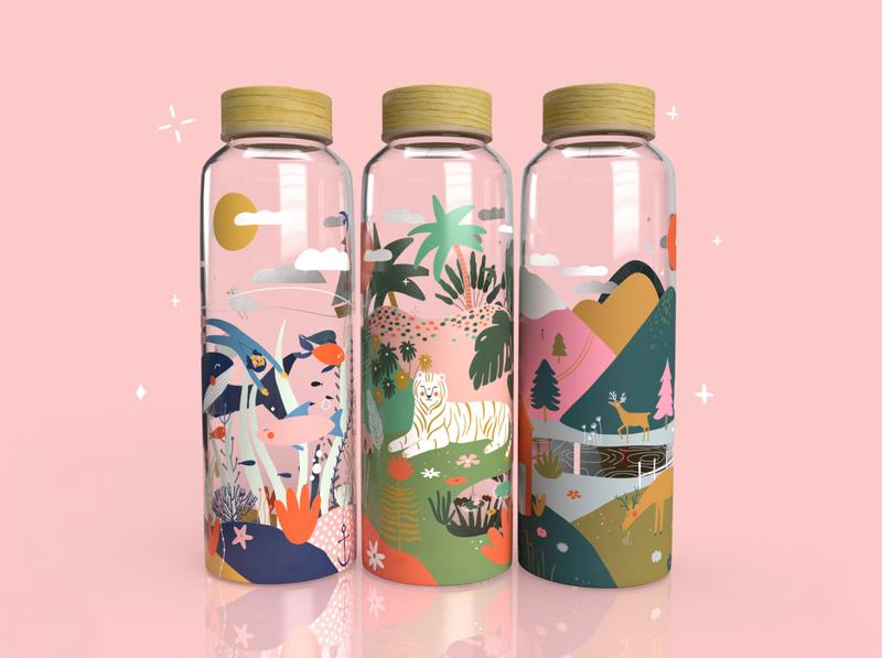 Bottles collection 💧 packagingdesign branding moutain forest aquatic jungle adobe dimension bottle mockup bottle design animal kids illustration illustration art illustrator illustration