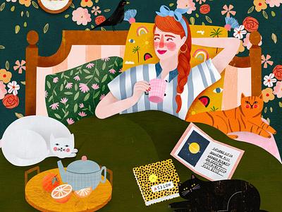 Lazy days are okay ❤️ motifs motif cat pattern design animal female character kids illustration illustration art illustrator illustration