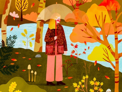 Autumn outfit 🧡 landscape illustration autumn leaves autumn female character kids illustration illustration art illustrator illustration
