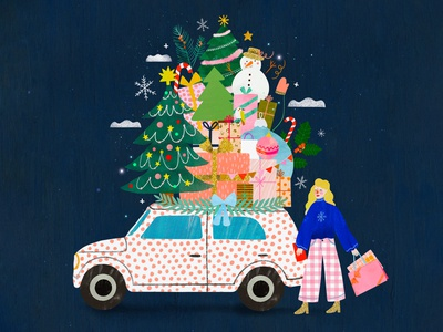 Christmas car 🚗 holidays happy holidays christmas winter illustration female character kids illustration illustration art illustrator illustration