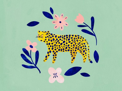 Cheetah with flowers 🌸 animal cheetah kids illustration illustration art illustrator illustration