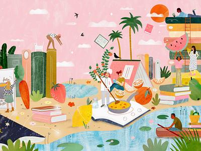 Book & Gastronomy 🍊📚 cooking book female character kids illustration illustration art illustrator illustration