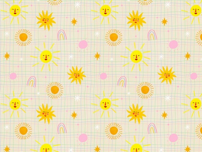Sunshine pattern 🌞🌈 surface pattern pattern designer motif pattern kids illustration illustration art illustrator illustration