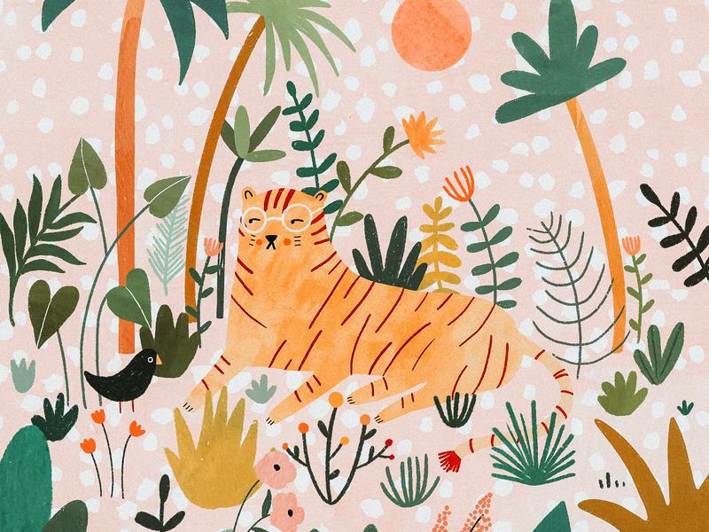 The tiger with glasses tropical kids art kids illustration tiger jungle illustrator procreate illustration