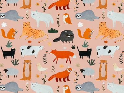 Cute animals pattern illustration art illustration pattern making kids motifs pattern design pattern animals