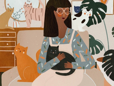Cat lady 😻 interior girl illustration girl character cat illustration cat drawing cat lady cat illo animal female character kids illustration illustration art illustrator illustration