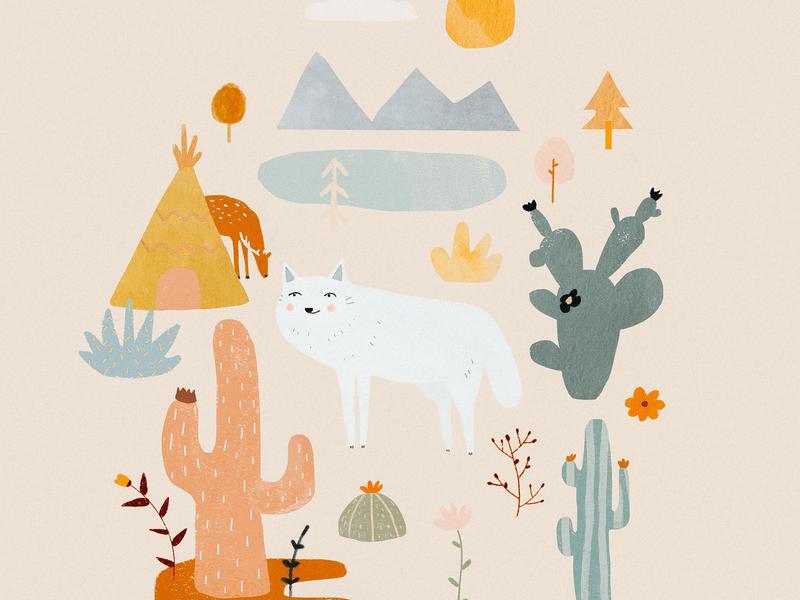 White wolf plant illustration plant lady cactus farwest white wolf wolf animal kids illustration illustration art illustrator illustration