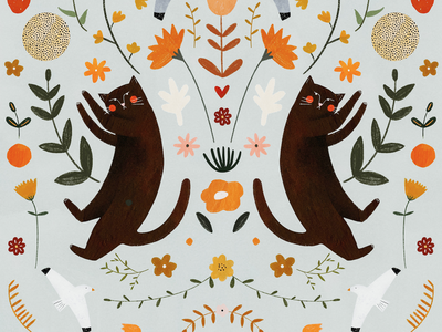 TWIN 🐱🌸🐱 CATS motif symetry symetric plant cat plant illustration pattern design motifs cat illustration animals pattern animal kids illustration illustration art illustrator illustration