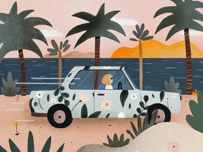 She has a funny car 🌈