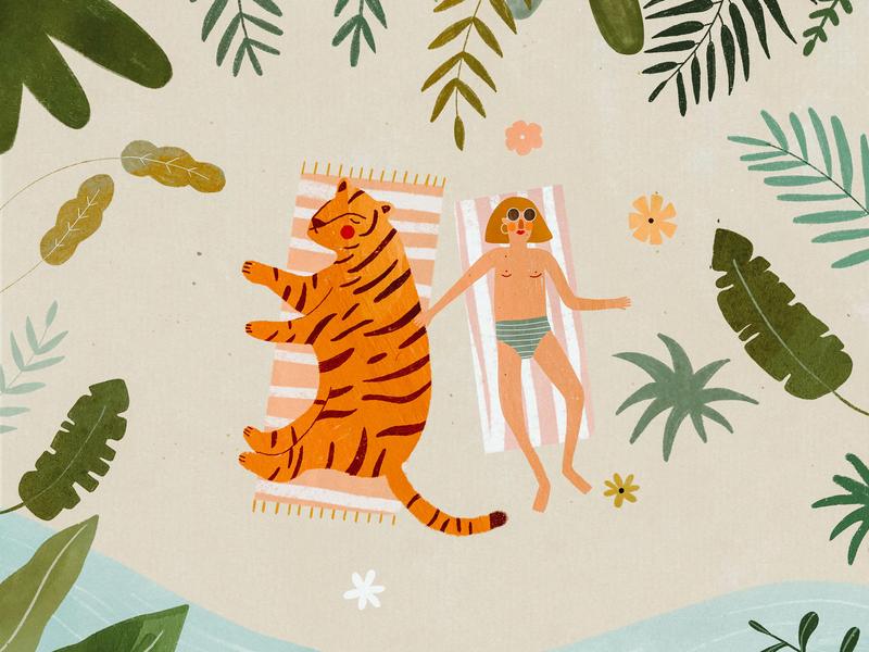 SUMMER MOOD ☀️🌴 girl tropical holiday beach summer tiger tigre plant illustration female character animal kids illustration illustration art illustrator illustration