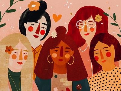 Flower power friends flower girl character girls women in illustration women female character kids illustration illustration art illustrator illustration