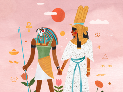 Nefertiti & Horus ✨ queen mythology horus nefertiti egyptian egypte kids illustration illustrator illustration art illustration