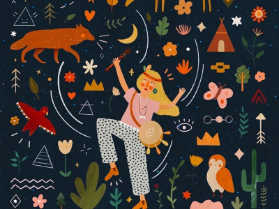 Les Confettis magic shaman indigenous native american pattern motifs motif animals female character animal kids illustration illustration art illustrator illustration