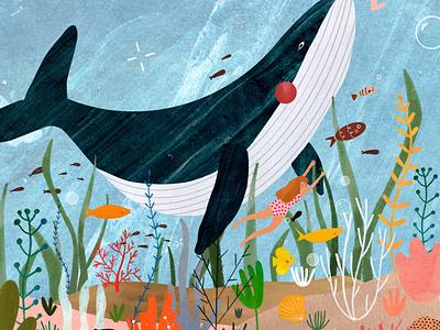 Under the sea ♥︎ coral coral reef ocean whale baleine underwater sea plant illustration animal kids illustration illustration art illustrator illustration