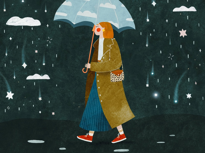 Stars rain stars rainy space cosmic cosmos female character kids illustration illustration art illustrator illustration