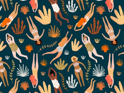 Les nageuses 🐋 ocean ocean life swimming swimmers pattern a day pattern art aquatic pattern design motifs motif pattern female character kids illustration illustration art illustrator illustration