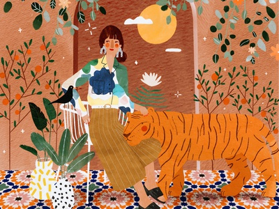 Moroccan mood 💚 morocco moroccan maroc tiger plant illustration pattern animal female character kids illustration illustration art illustrator illustration
