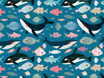 Sous l'océan 🐟 aquatic ocean life sea ocean fish pattern design motifs motif animal kids illustration illustration art illustrator illustration