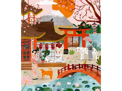 Japon dream 🇯🇵 japanese art japanese culture japan cat illustration cat animals plant illustration animal female character kids illustration illustration art illustrator illustration