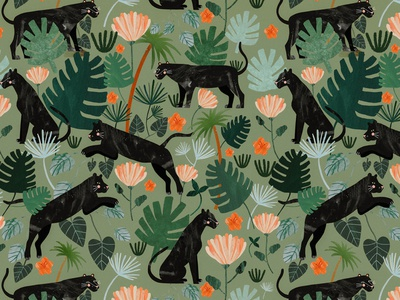 Jungle pattern 🌿 motif animals pattern design plant illustration pattern animal kids illustration illustration art illustrator illustration