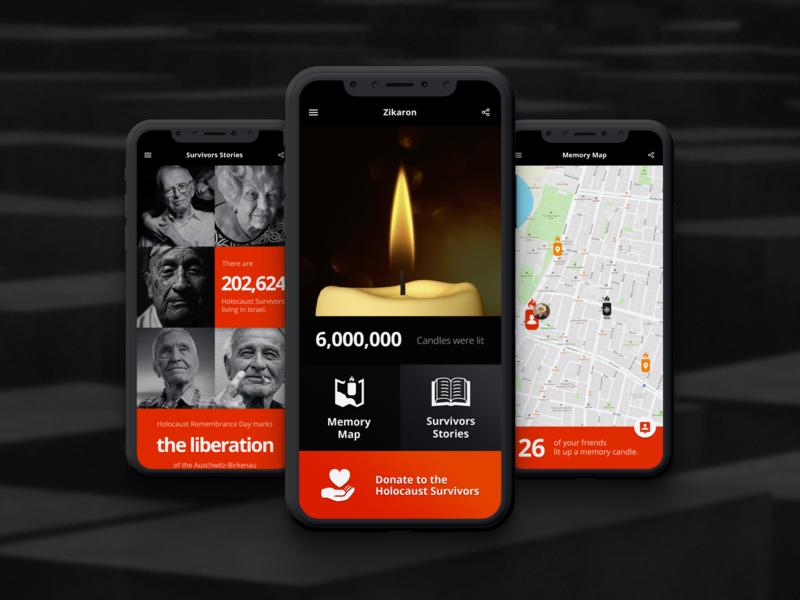 Zikaron - Holocaust Memorial App app design mobile app design mobile design mobile ui mobile app stories candle memorial memory holocaust minimal design app ux ui
