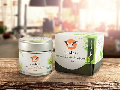 Zendori Organic Ceremonial Grade Matcha  zen life zendori matcha green tea brand identity logo