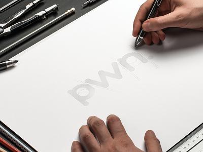 pwn logo sketching circles logo design brand identity typography circle logo branding