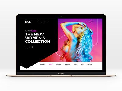 Pwn Website brand identity web design apparel clothing hypebeast neon logo branding ecommerce ux ui