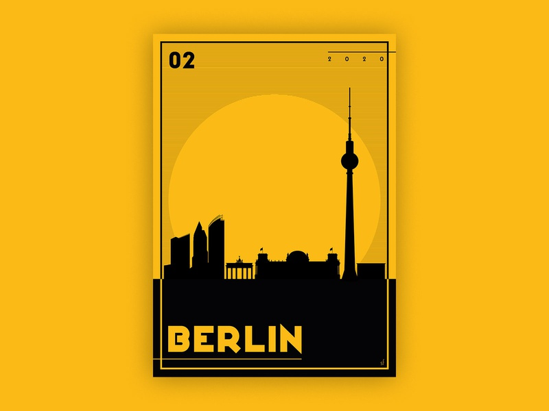 Berlin print design poster a day poster design graphicdesign berlin two tone illustration poster minimal flat