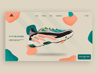 Adidas FYW 98 Shoes Concept page shoes app index page index adidas originals uiux website ui shoes adidas